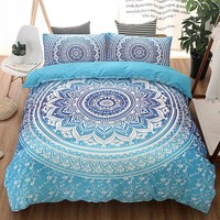 Blue Bohemian Queen Comforter Set Mandala King Twin Size 3D Bedding Set Luxury Bed Quilt Cover Duvet Cover Double Sheets Sets