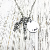 Flute Necklace Recorder musician music note treble clef necklace Hand stamped Personalized jewelry