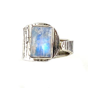 Moonstone Sterling Silver Rectangular Adjustable Ring