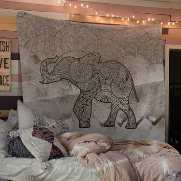 Reiki Charged Henna Elephant Bohemian Tapestry Wall Hanging