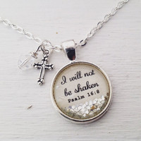 "Psalm 16:8 ""I will not be shaken"" sparkle necklace, Christian jewelry, bible verse necklace, scripture necklace, cross necklace, faith gift"