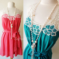 NEW Coral or Teal Crochet Embroidered Open Y Back Summer Beach Tunic Top Dress