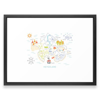 Society6 Neverland Map Color Framed Print