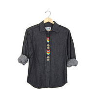 Beaded Southwestern Black Denim Shirt Long Sleeve Boho Jean Shirt Wrangler native western Button Up Ethnic Shirt Womens Medium Shirt