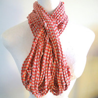 Autumn Infinity Scarf Women's Fall Fashion Pumpkin Striped Scarf Upcycled Clothing Men's Orange Oatmeal Striped Loop Scarf Gifts Under 75