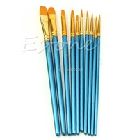 10Pcs Artists Paint Brush Set Acrylic Watercolor Round Pointed Tip Nylon Hair Drawing Art Supplies H06