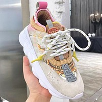 Versace Leisure heavy-soled lace sneakers Clunky Sneaker Dad shoes Leopard Beige Pink