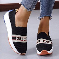 GG new letters embroidered canvas sneakers casual platform shoes Black