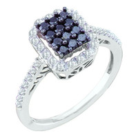 Black Diamond Ladies Fashion Ring in 10k White Gold 0.5 ctw