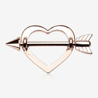 A Pair of Rose Gold Cupid's Heart Nipple Shield Ring