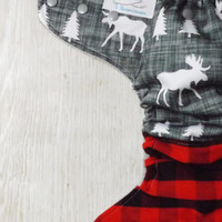 Moose hybrid fitted cloth diaper, red and black buffalo plaid and moose diaper, one size, woodland creatures