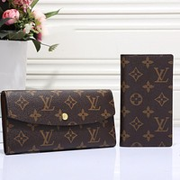 Louis Vuitton Classic Print Fashion Casual Ladies Long Wallet Card Slot Bag Two-piece Set
