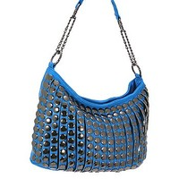 Trendy Studded Purse Fashion Slouch Bag Blue