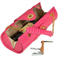 Wine Carrier and  Purse   Pink