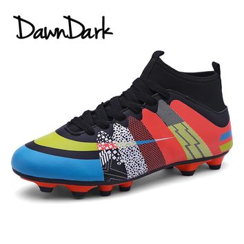 Men Soccer Shoes Outdoor High Ankle Male HG Football Boots Cleats Spring Summer Boys Kids Football Shoes Cheap