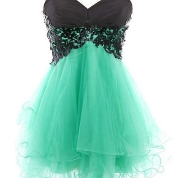 Cody Lace Butterfly Dress Lace Ball Gown Sweetheart Mini Prom Dress = 1931436996