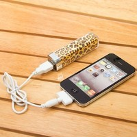 Leopard Pattern 2500mah Power Charger Battery Bank for Iphone 4/4s and Camera, Various Cell Phones and Digital Devices