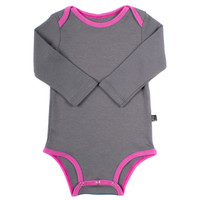 Organic Grey & Orchid Pink Long Sleeve Onepiece