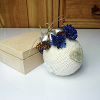 White blue silver brown christmas tree ornament cotton cord birch bark hearts flowers tiny cones acorns snowflakes rustic decor cozy cottage