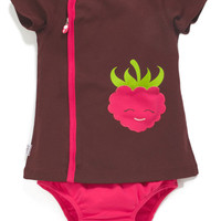 Raspberry Appliqué Pocket Zip Dress