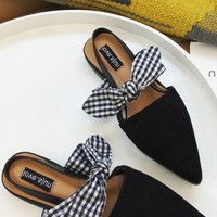 Pointy Toe  Low Heel Bow Tie Sandals