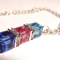 Mothers Necklace, Crystal Necklace, Crystal Cube Necklace, Birthstone Necklace