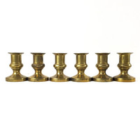 Set of 6 Brass Candle Holders / Taper Candle Design / Instant Collection / Gold Home Accents / Vintage Wedding Decor