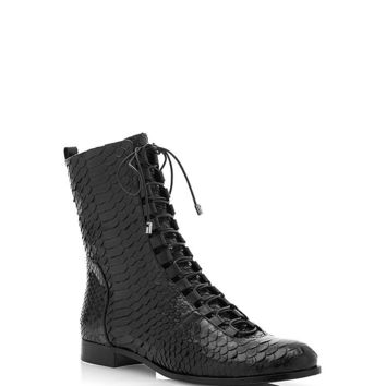 Lace-Up Python Boots