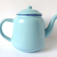 Baby Blue Vintage Pitcher, Metal, Serving, Tea Pot, Coffee Pot, Kitchen Decor, Enamelware