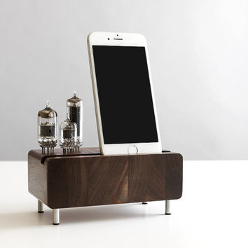 Dock for iPhone 6 Samsung Galaxy handcrafted butcher block from walnut wood with triple electron tubes - rounded edges