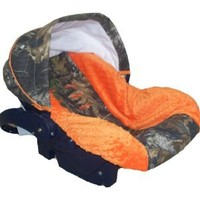 Infant Car Seat Cover, Baby Car Seat Cover, Slip Cover- Camo with Orange Minky!