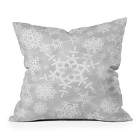 Lisa Argyropoulos Snow Flurries in Gray Throw Pillow