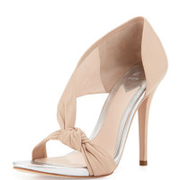 B by Brian Atwood Chryssa Knotted Leather Sandal, Nude