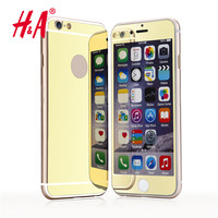 front and back Premium Mirror Electroplating Tempered Glass Screen Protector case cover For iPhone 7 6 6s 5 5s 4 4s 2 pcs lot