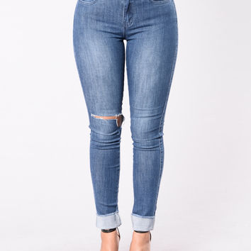 Take You There Jeans - Medium Blue