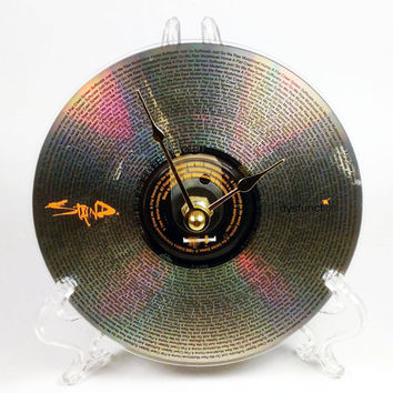 CD Clock, Desk Clock, Wall Clock, Staind, Recycled Music Compact Disc, Upcycle, Battery, Wall Hanger & Stand ALL INCLUDED