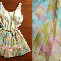 60s pastel swimsuit - vintage Sandcastle floral print pink yellow white playsuit romper bathing suit knife pleat skirt one piece pinup retro