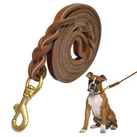 """Brown Braided Genuine Leather Dog Training Leash Heavy Duty Pet Walking Leads  45""""/65""""/85"""" Long For Small Medium Dogs"""