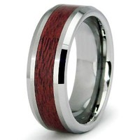 Tungsten Carbide Maple Wood Inlay Wedding Band Ring 8mm