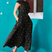Polka dot embellished cotton poplin dress