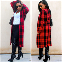 Women Long Red Plaid Trench Coats 2016 Wool Coat Autumn Winter Warm Blends Casual O-neck Wool Outwear Plus Size With Pockets