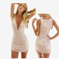Hot Women Summer Party Sexy deep V Neck Gold Sequin Dress Hollow Cut Out Glitter Women Tropical Club Mini dress