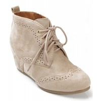 City Classified Swirl Perforated Lace Up Wedge Sneaker Bootie OATMEAL