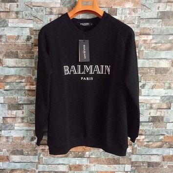 """""""Balmain"""" Unisex Simple Fashion Letter Print Long Sleeve Sweater Couple Loose Casual Pullover Tops"""