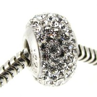April Birthstone Round White Crystal Bead Sterling Silver European Style Bead Charm