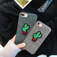 Cute Cactus England Grid Weaving Case For iPhone 7 7plus 6 6S Plus Case Plush Back Cover Funny Cartoon Phone Case Soft Back