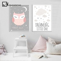 Baby Nursery Wall Art Canvas Painting Cartoon Owl Poster Print Nordic Kid Decoration Picture Dream Big Quotes Bedroom Decor