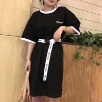"""Adidas"" Women Casual Fashion Multicolor Belt Short Sleeve T-shirt Dress"