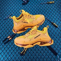 Balenciaga Triple S Clear Sole Trainers Yellow Sneakers
