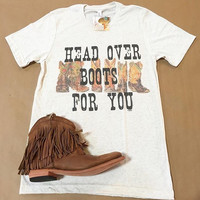 """Gina """"Head Over Boots"""" Oatmeal S/S Tee-RESERVE"""